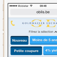 Oblis mobile - Site web mobile - Goldwasser Exchange